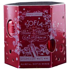 Francis Ford Coppola 'Sofia Mini' Blanc de Blancs 187ml x 4pk California