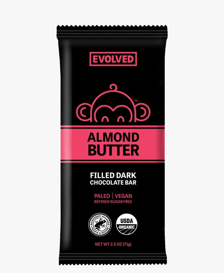 Evolved 2.5 oz Bar Almond Butter 72%